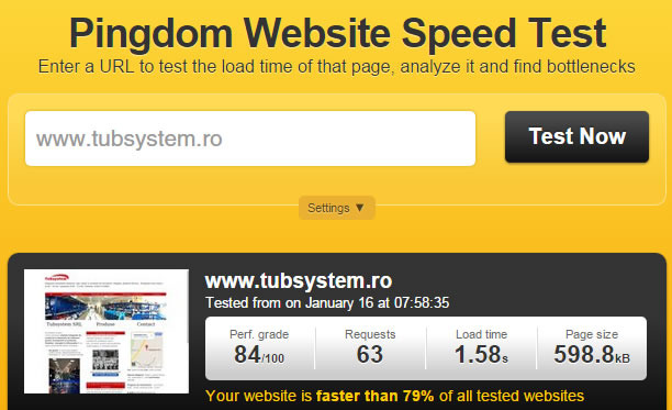Speed test site de prezentare tubsystem.ro
